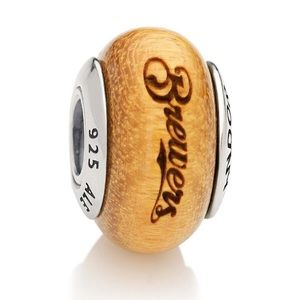 Milwaukee Brewers Pandora Wood Charm Baseball MLB
